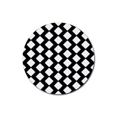 Abstract Tile Pattern Black White Triangle Plaid Rubber Round Coaster (4 Pack)