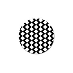 Abstract Tile Pattern Black White Triangle Plaid Golf Ball Marker