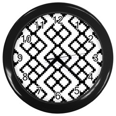 Abstract Tile Pattern Black White Triangle Plaid Chevron Wall Clocks (black)