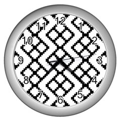 Abstract Tile Pattern Black White Triangle Plaid Chevron Wall Clocks (silver)