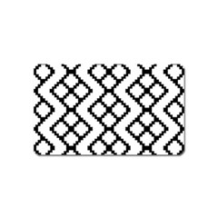 Abstract Tile Pattern Black White Triangle Plaid Chevron Magnet (name Card)
