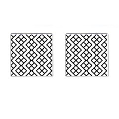 Abstract Tile Pattern Black White Triangle Plaid Chevron Cufflinks (square)