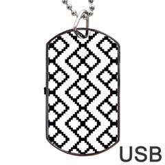 Abstract Tile Pattern Black White Triangle Plaid Chevron Dog Tag Usb Flash (one Side)