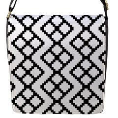 Abstract Tile Pattern Black White Triangle Plaid Chevron Flap Messenger Bag (s)