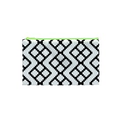 Abstract Tile Pattern Black White Triangle Plaid Chevron Cosmetic Bag (xs)