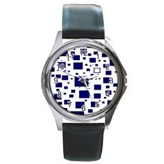 Blue Squares Textures Plaid Round Metal Watch
