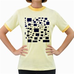 Blue Squares Textures Plaid Women s Fitted Ringer T Shirts