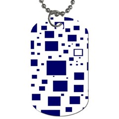 Blue Squares Textures Plaid Dog Tag (one Side)