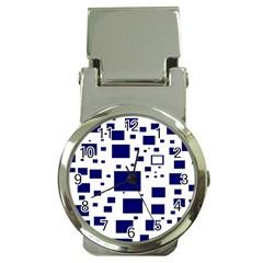 Blue Squares Textures Plaid Money Clip Watches