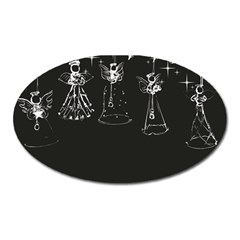 Christmas Angels Star Blue Oval Magnet