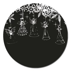 Christmas Angels Star Blue Magnet 5  (round)