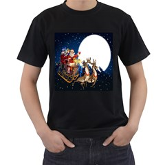 Christmas Reindeer Santa Claus Snow Night Moon Blue Sky Men s T Shirt (black) (two Sided)