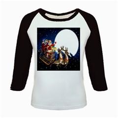 Christmas Reindeer Santa Claus Snow Night Moon Blue Sky Kids Baseball Jerseys