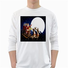 Christmas Reindeer Santa Claus Snow Night Moon Blue Sky White Long Sleeve T Shirts