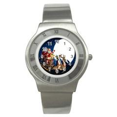 Christmas Reindeer Santa Claus Snow Night Moon Blue Sky Stainless Steel Watch
