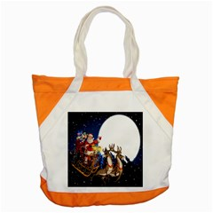 Christmas Reindeer Santa Claus Snow Night Moon Blue Sky Accent Tote Bag