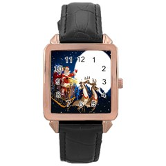 Christmas Reindeer Santa Claus Snow Night Moon Blue Sky Rose Gold Leather Watch