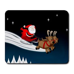Christmas Reindeer Santa Claus Snow Star Blue Sky Large Mousepads
