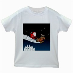 Christmas Reindeer Santa Claus Snow Star Blue Sky Kids White T Shirts