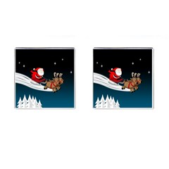 Christmas Reindeer Santa Claus Snow Star Blue Sky Cufflinks (square)