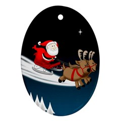 Christmas Reindeer Santa Claus Snow Star Blue Sky Oval Ornament (two Sides)
