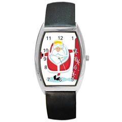 Christmas Santa Claus Barrel Style Metal Watch
