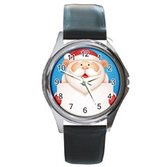 Christmas Santa Claus Letter Round Metal Watch