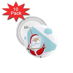 Christmas Santa Claus Paragliding 1 75  Buttons (10 Pack)