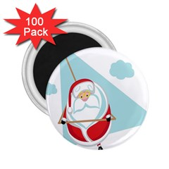 Christmas Santa Claus Paragliding 2 25  Magnets (100 Pack)