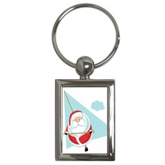 Christmas Santa Claus Paragliding Key Chains (rectangle)