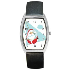 Christmas Santa Claus Paragliding Barrel Style Metal Watch