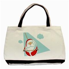 Christmas Santa Claus Paragliding Basic Tote Bag
