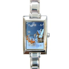 Christmas Reindeer Santa Claus Wooden Snow Rectangle Italian Charm Watch