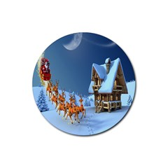 Christmas Reindeer Santa Claus Wooden Snow Rubber Round Coaster (4 Pack)