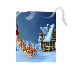 Christmas Reindeer Santa Claus Wooden Snow Drawstring Pouches (large)