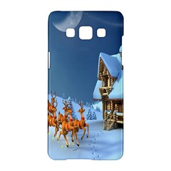 Christmas Reindeer Santa Claus Wooden Snow Samsung Galaxy A5 Hardshell Case