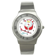 Christmas Santa Claus Playing Sky Snow Stainless Steel Watch