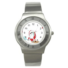 Christmas Santa Claus Snow Cool Sky Stainless Steel Watch