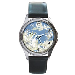 Nature Pattern Round Metal Watch
