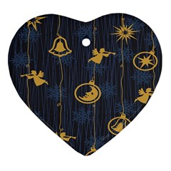 Christmas Angelsstar Yellow Blue Cool Ornament (heart)