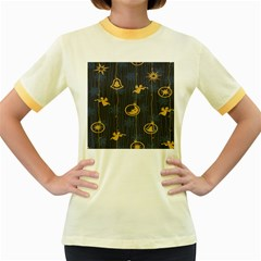 Christmas Angelsstar Yellow Blue Cool Women s Fitted Ringer T Shirts