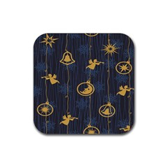 Christmas Angelsstar Yellow Blue Cool Rubber Coaster (square)