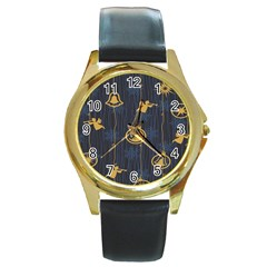 Christmas Angelsstar Yellow Blue Cool Round Gold Metal Watch