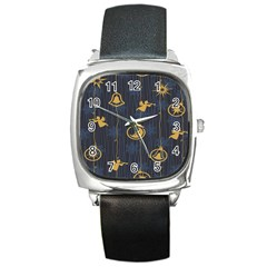 Christmas Angelsstar Yellow Blue Cool Square Metal Watch