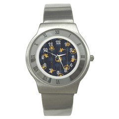 Christmas Angelsstar Yellow Blue Cool Stainless Steel Watch