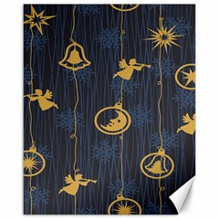 Christmas Angelsstar Yellow Blue Cool Canvas 16  X 20
