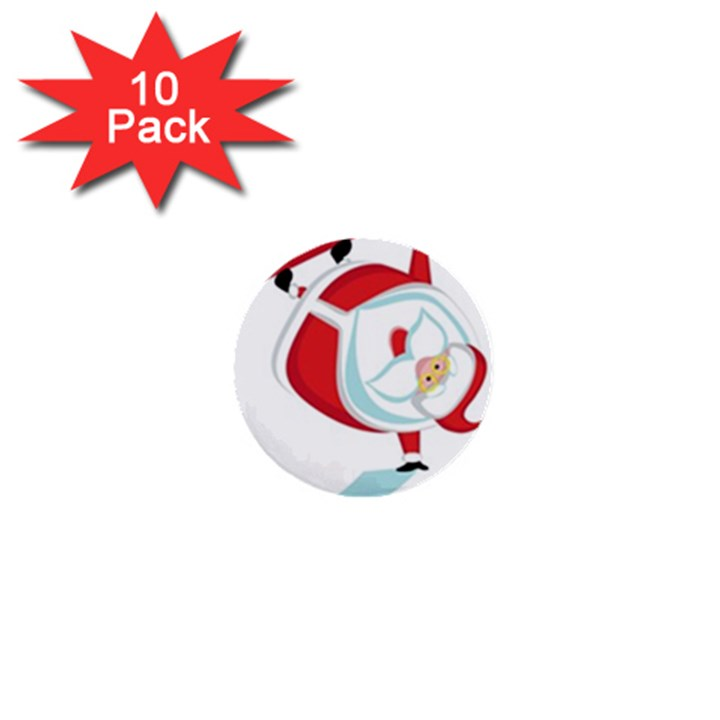 Christmas Santa Claus Snow Sky Playing 1  Mini Buttons (10 pack)