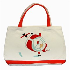 Christmas Santa Claus Snow Sky Playing Classic Tote Bag (red)