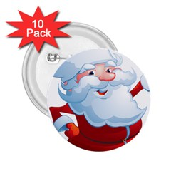 Christmas Santa Claus Snow Red White 2 25  Buttons (10 Pack)
