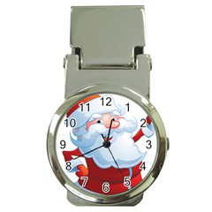Christmas Santa Claus Snow Red White Money Clip Watches